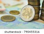 euro coins over paper euro... | Shutterstock . vector #790455316