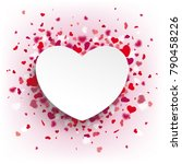 white paper heart with flying... | Shutterstock .eps vector #790458226