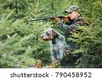 hunter with a german wire... | Shutterstock . vector #790458952