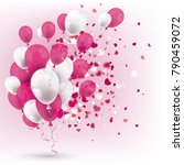 pink and white balloons with... | Shutterstock .eps vector #790459072