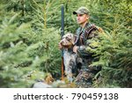 hunter with a german wire... | Shutterstock . vector #790459138