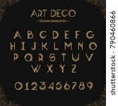 Art Deco creative font. Creative template in style of 1920s for your design. Letters, Numbers  in Vector. EPS 10 | Shutterstock vector #790460866