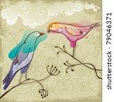 Two Beautiful  Birds Sitting O...