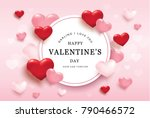Stock vector happy valentines day romance greeting card with red and pink hearts 790466572