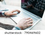 hands close up  typing on the... | Shutterstock . vector #790469602