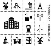 tower icons. set of 13 editable ... | Shutterstock .eps vector #790480012