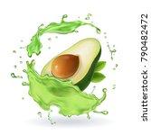 fresh avocado fruit juice... | Shutterstock .eps vector #790482472