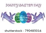watercolor happy easter day...   Shutterstock . vector #790485016
