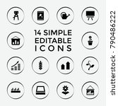 Set Of 14 Grow Filled Icons...