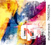 abstract collage with colorful... | Shutterstock . vector #790502296