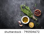 selection of spices  herbs and... | Shutterstock . vector #790504672