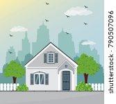 stylish little modern house... | Shutterstock .eps vector #790507096