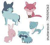 forest cartoon animals set in... | Shutterstock .eps vector #790509262