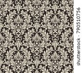 seamless black and white floral ... | Shutterstock .eps vector #790510756