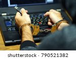 close up. arrested hacker man... | Shutterstock . vector #790521382