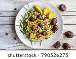 chestnut salad with pearl... | Shutterstock . vector #790526275