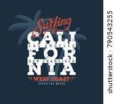 california surfing typography....   Shutterstock .eps vector #790543255