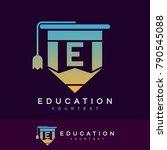 education initial letter e logo ... | Shutterstock .eps vector #790545088