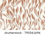 seamless pattern with leaves.... | Shutterstock .eps vector #790561696
