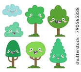 Cute Trees Characters. Simple...