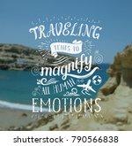 mountain and sea. vector hand... | Shutterstock .eps vector #790566838