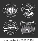 set of vintage camping and... | Shutterstock .eps vector #790571155