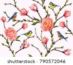 Stock vector seamless vector floral pattern background with hand drawn birds tropical japanese flowers 790572046