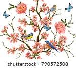 seamless vector floral pattern... | Shutterstock .eps vector #790572508