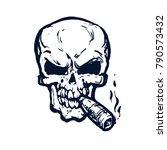 skull with cigar smokes.... | Shutterstock .eps vector #790573432