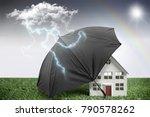 umbrella protecting a house... | Shutterstock . vector #790578262