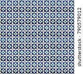 blue pattern tiles in lisbon ... | Shutterstock . vector #790579012
