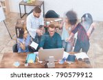 in a large bright office are... | Shutterstock . vector #790579912