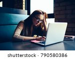 exhausted hipster girl booking... | Shutterstock . vector #790580386