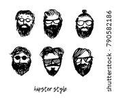 set of mens hairstyles  beards... | Shutterstock .eps vector #790582186