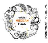 mexican food sketch label in... | Shutterstock . vector #790583896