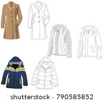 coat and sketch of coat and...   Shutterstock .eps vector #790585852