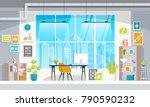 flat design of modern office...   Shutterstock .eps vector #790590232