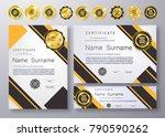 qualification certificate of...   Shutterstock .eps vector #790590262