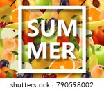 lot of juicy fruits and the... | Shutterstock .eps vector #790598002