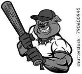 bulldog baseball player... | Shutterstock .eps vector #790600945