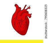 internal organ red heart with... | Shutterstock .eps vector #790608325