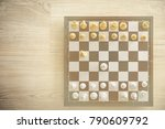 gold and silver chessmen on... | Shutterstock . vector #790609792