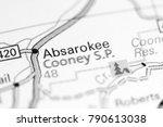 Small photo of Absarokee. Montana. USA on a map.