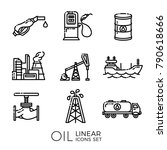 set of linear oil icons  ... | Shutterstock .eps vector #790618666