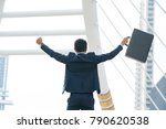 happy business man open arm... | Shutterstock . vector #790620538