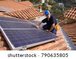 photovoltaic skilled worker... | Shutterstock . vector #790635805