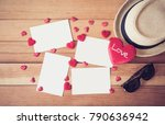 red heart with blank white card ... | Shutterstock . vector #790636942