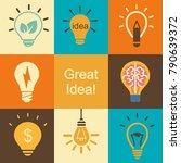 creative good idea concept with ... | Shutterstock .eps vector #790639372