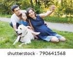 happy family with pet dog at... | Shutterstock . vector #790641568