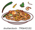 pad thai fried noodles with... | Shutterstock .eps vector #790642132